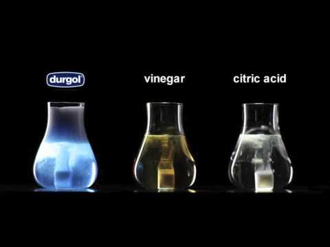 limescale reduction of durgol express compared with vinegar and citric acid