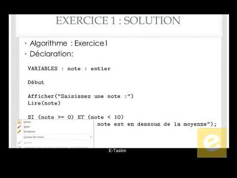 16 Algorithmique : Exercice 1