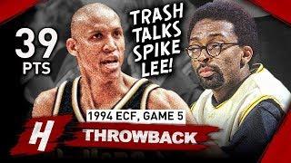 Reggie Miller EPIC Full Game 5 Highlights vs Knicks 1994 NBA Playoffs - 39 Pts, Famous Choke Sign!