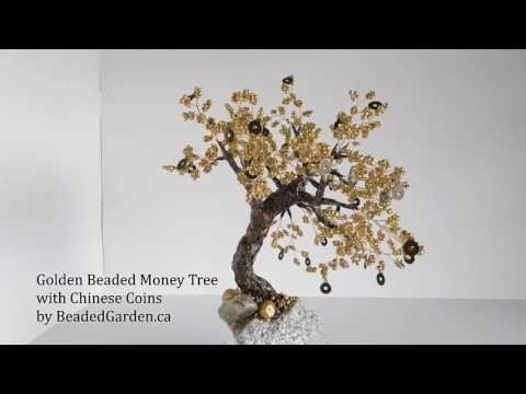 Golden Beaded Money Tree with Chinese Coins by Beaded Garden Canada