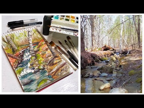 Painting At Fields Pond // Sketchbook Sunday