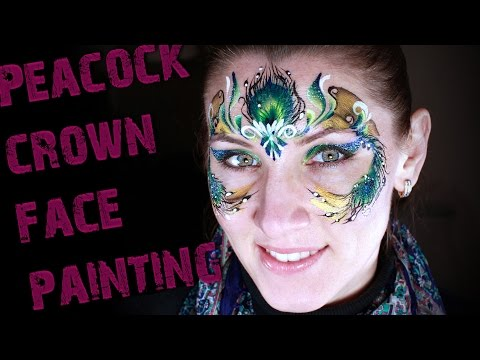 Peacock feather crown face painting