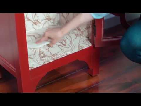 Update a Night Stand with Peel and Stick Wallpaper