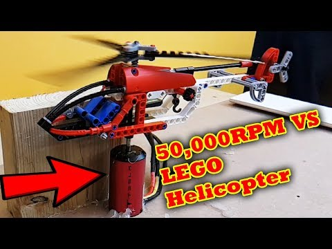 Lego Helicopter VS 50,000 RPM Catastrophic Failure Explodes!! Epic Sound