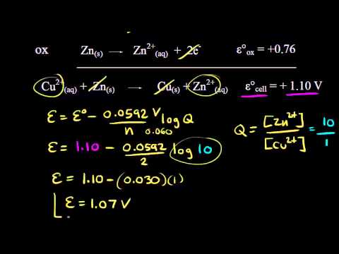 Using the Nernst equation | Redox reactions and electrochemistry | Chemistry | Khan Academy