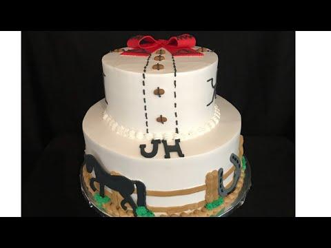 Pastel con decoraciones de charro (cowboys cake)