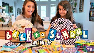 BACK TO SCHOOL SWITCH UP CHALLENGE!  WHAT'S IN MY BACKPACK! EMMA AND ELLIE