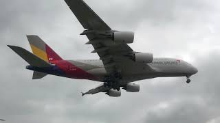 Asiana Airlines A380 Hl7626 Landing Into Los Angeles (lax)