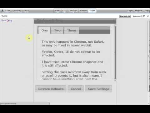 Chrome Bug with Overflow Auto and jQueryUI (Tabs and Dialog) and jQuery