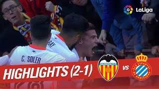 Resumen de Valencia CF vs RCD Espanyol (2-1)