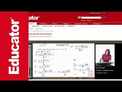 Algebra 2: Quadratic Formula and the Discriminant
