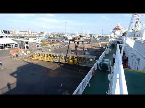 Calmac Ferry departs Ardrossan Ayrshire en route to Brodick Isle of Arran Scotland