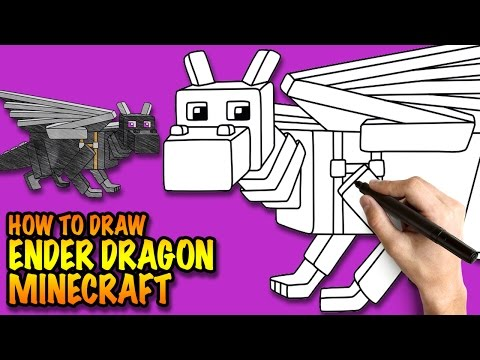 How to draw Ender Dragon - Minecraft - Easy step-by-step drawing tuturial