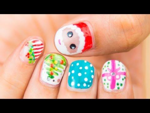 Easy Christmas Nail Designs Youtube Holiday Nail Designs E