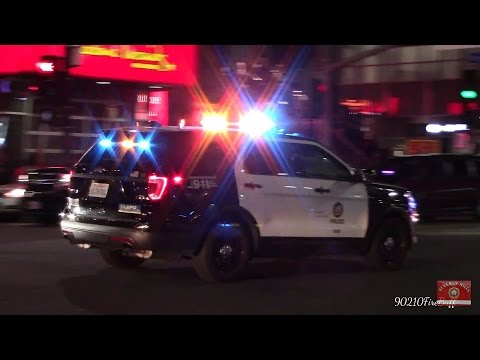 LAPD Ford Explorer Using PA System While Responding Code 3 in Hollywood