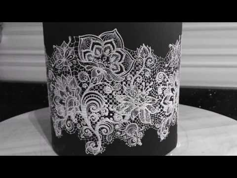 How to use mesh stencil on cake, mesh stencil tutorial, lace stencil tutorial