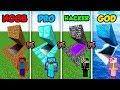 Minecraft NOOB Vs PRO Vs HACKER Vs GOD SECRET BASE In Minecraft MAP Animation
