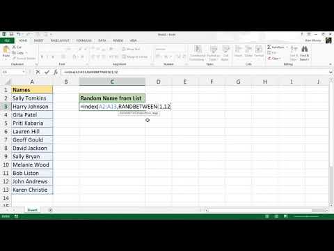 Pick a Name at Random from a List - Excel Formula