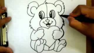 How to Draw a Valentines Teddy bear with a heart   Requested