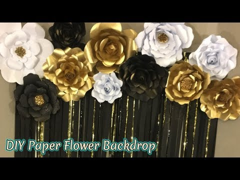 DIY 3 Paper Flower Tutorials | FREE DOWNLOAD TEMPLATES |Masquerade Theme backdrop