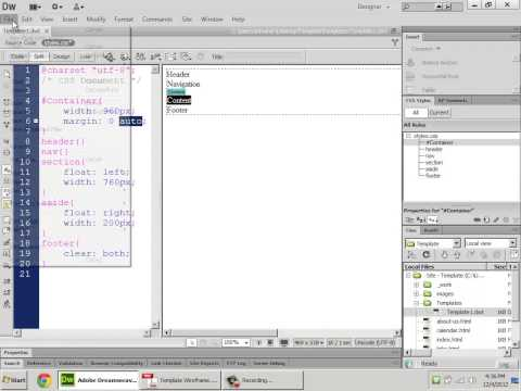 Templated HTML5-CSS Site with Dreamweaver CS6