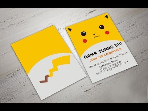 How to Make POKEMON GO Birthday Invitation in Coreldraw - Pikachu