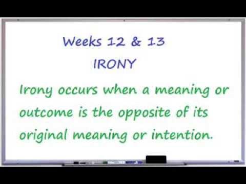 Weeks 12 & 13- Irony
