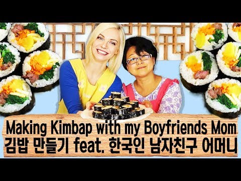 Making Kimbap with my Korean Boyfriends Mom (한국자막)(ENG SUB)
