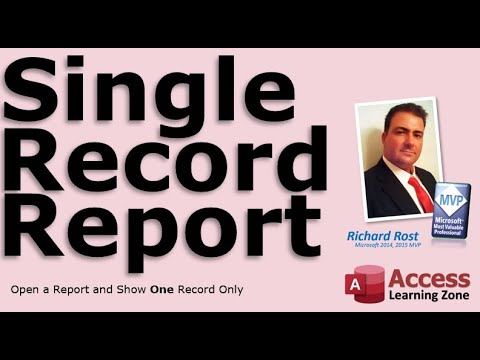 Display a Single Record in a Microsoft Access Report