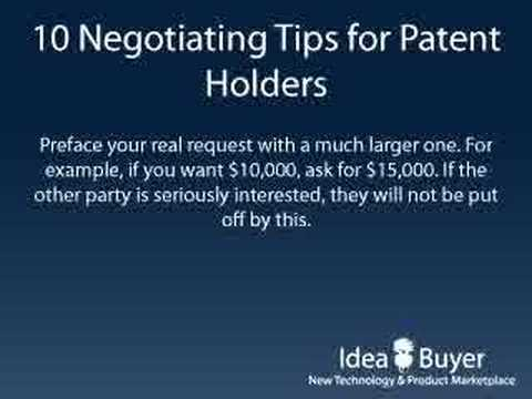 Selling a Patent - Negotiating