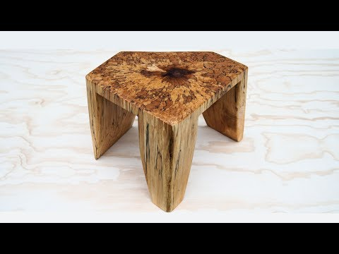 Chainsaw Art - Spalted Maple Foot Stool Cut From A Log