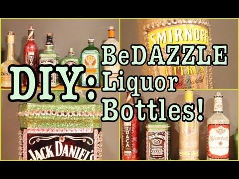 DIY: BeDAZZLE Liquor Bottles!