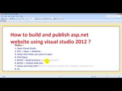 How to build and publish asp.net website using visual studio 2012 ?