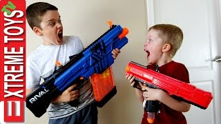 Nerf Blaster Prank Battle! Ethan and Cole Attack and Set Traps with Nerf Rival Blasters