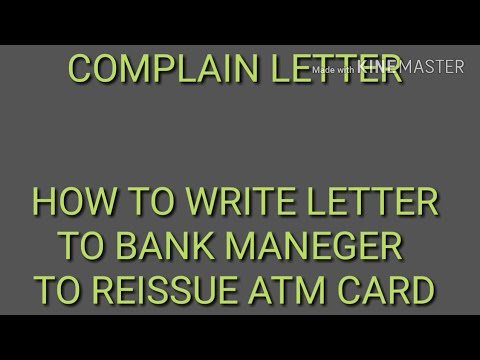 How to write a letter to bank manager to reissue of atm card