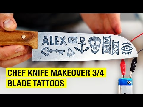 How to Tattoo a Chef Knife Blade with Metal Etching ! Chef Knife Makeover 3/4