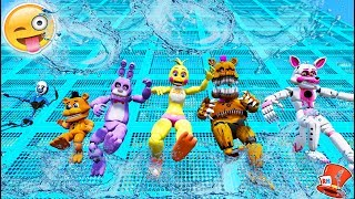 ANIMATRONICS SLIDE 99,999 FEET ON BIGGEST WATER SLIDE! (GTA 5 Mods For Kids FNAF RedHatter)