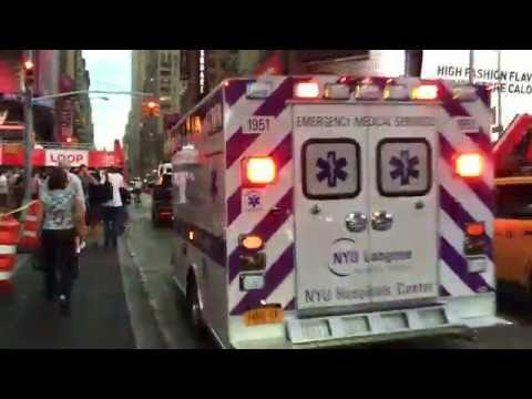 NYU LANGONE MEDICAL CENTER EMS AMBULANCE RESPONDING ON 7TH AVE. IN TIMES SQUARE, MANHATTAN, NYC.