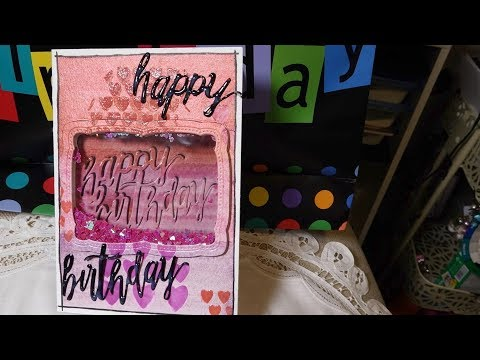 Reversible Shaker Birthday Card inspired by Altenew