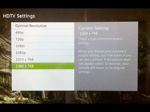 How to change Display Resolution in Xbox 360 HD (1080p)