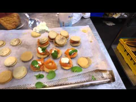 french macaron with salmon and cheese