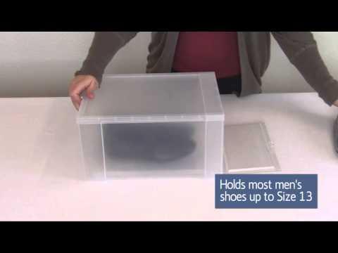 Plastic Drop Front Shoe Box Large