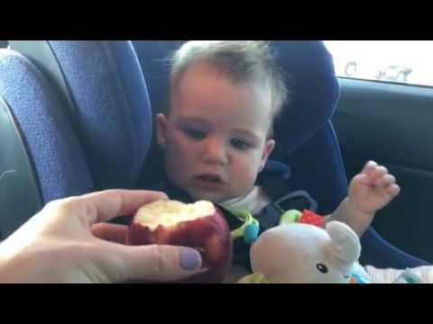 9 month old eating apple  1
