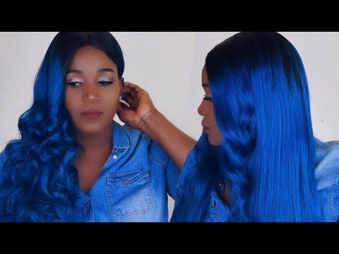 BLUE HAIR ON DARK SKIN MELANIN POPPING | EVA WIGS