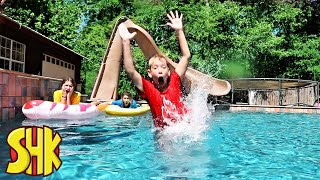 Lifeguard Swimming Pool Challenge! SuperHeroKids Funny Family Videos Compilation