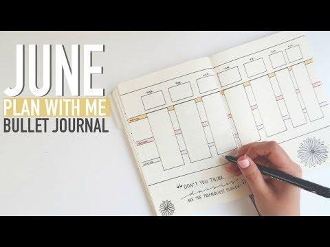 Bullet Journal PLAN WITH ME June 2018 | Menu + Exercise Planner