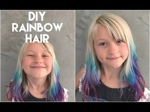 DIY: get ombre hair with rainbow tips at home (cute color for girls)