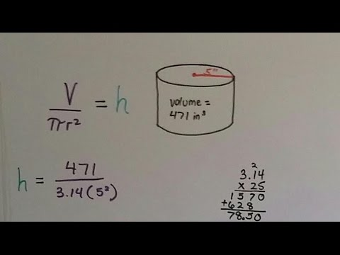 Grade 8 Math #13.1d, Find Height or Radius from Volume