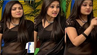 Roja serial actress Priyanka cute Navel show | Tamil Serial actress Navel slip in black saree