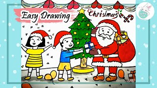 Santa Clause With Gifts And Christmas Tree Drawing Videos 9tube Tv